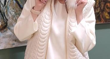Модный образ в стиле total look цвета ivory